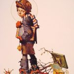 Little Boy Holding Chalk Board Norman Rockwell