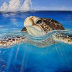 Living Room Modern Decoration Hand Painted Middle Quality Animal Sea Turtle Oil