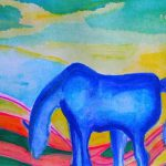 Lonesome Blue Horse Painting