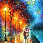 Love Lake Palette Knife Oil Painting Canvas Leonid