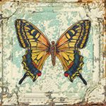 Lovely Yellow Butterfly Tin Tile Painting Jean