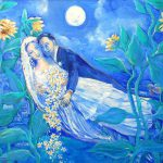 Lovers Sunflowers After Marc Chagall Painting Trudi