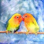 Lovey Dovey Lovebirds Painting Arline
