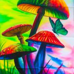 Magic Mushrooms Painting Handmade Order Blacklight Active Psychedelic India Multiple