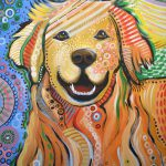 Max Abstract Dog Art Golden Retriever Painting Amy