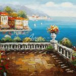 Mediterranean Balcony Oil Painting Paintings Sale Cheap