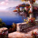 Mediterranean Garden Oil Painting Cao Paintings Sale Cheap