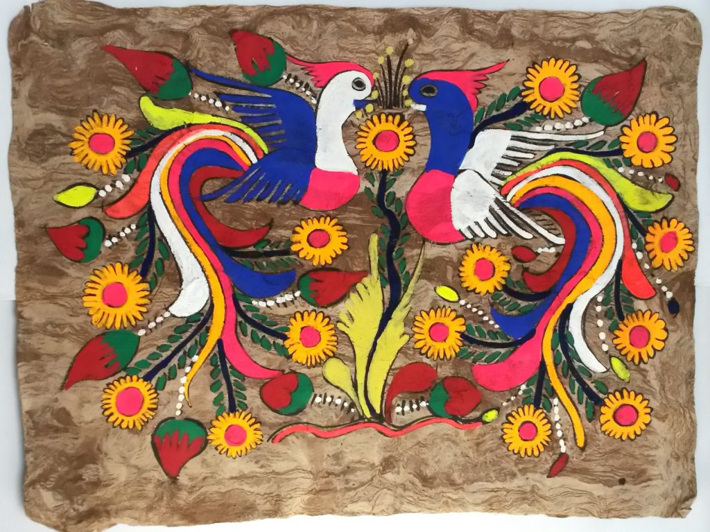 Mexican Bark Paintings Large Birds Paradise