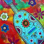 Mexican Folk Art Guitar Painting Pristine Cartera