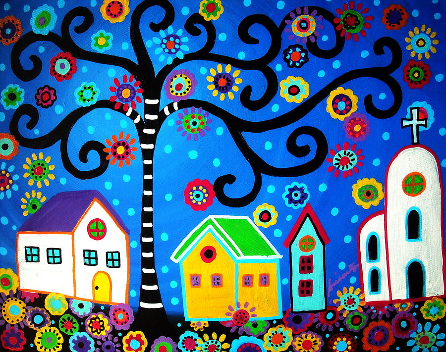 Mexican Town Painting Pristine Cartera