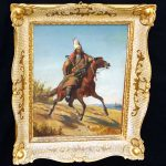Middle Eastern Mongolian Oil Painting Tribesman Horse Graf Ber