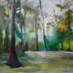 Misty Swamp Painting Original Louisiana Bayou Artwork
