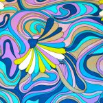 Mod Peter Max Inspired Psychedelic Abstract Fabric