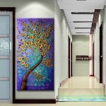 Modern Abstract Huge Wall Art Oil Painting Canvas Gold Tree Framed