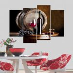 Modern Bar Dining Room Creative Mural Simple Unframed Canvas Paintings Kitchen Fruit Wine