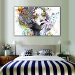 Modern Wall Art Girl Flowers Unframed Canvas Painting Home Bedroom
