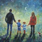 Mom Dad Son Daughter Art Print Evening Walk Father