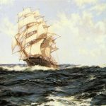 Montague Dawson Ship Stormy Seas Off