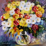 Morning Flowers Palette Knife Oil Painting Canvas Leonid