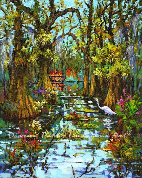 Morning Swamp Louisiana Painting
