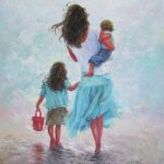 Mother Daughter Baby Son Beach Painting Vickie
