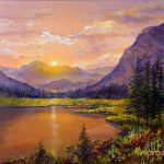 Mountain Lake Sunset Painting Lou Ann