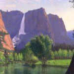 Mountains Waterfall Stream Western Mountain Landscape Oil Painting Walt