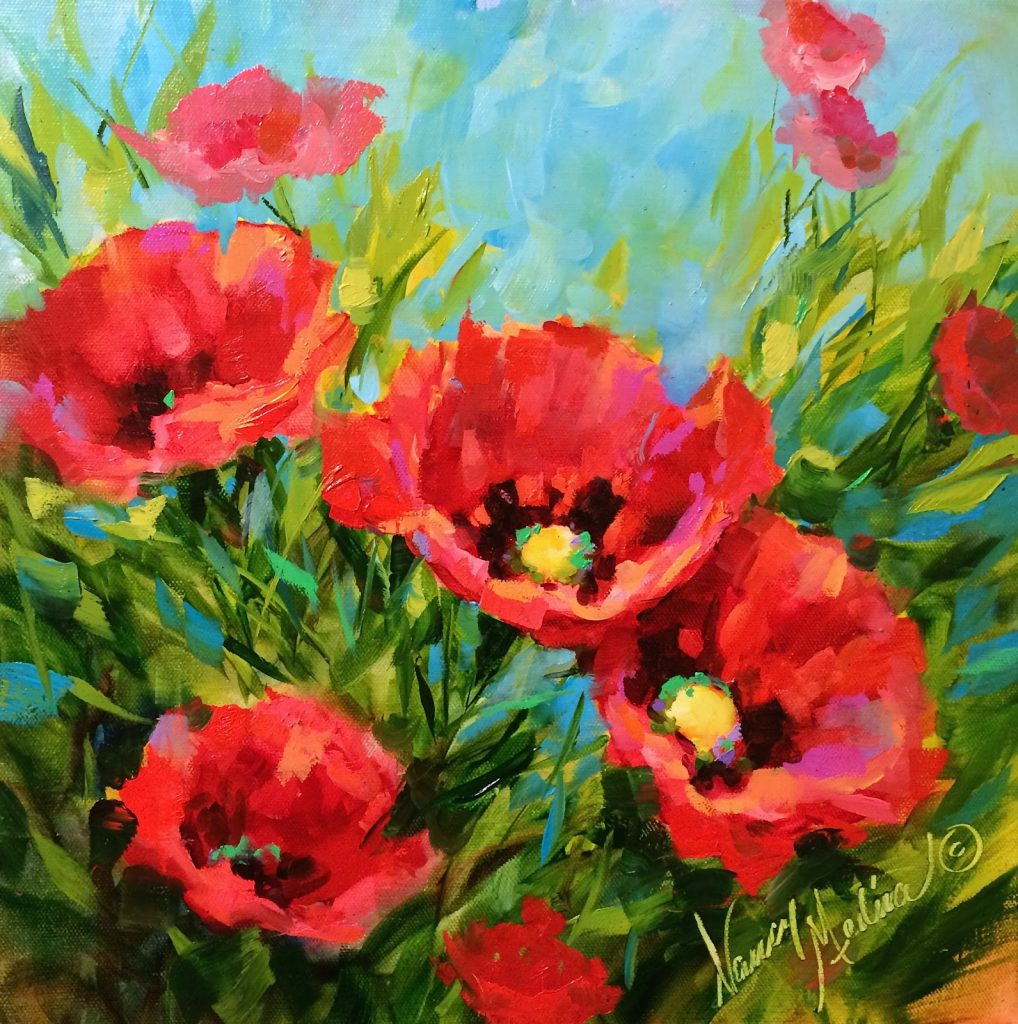 Nancy Medina Art New Poppy Dvd Pansy Starlets Flower Painting Classes