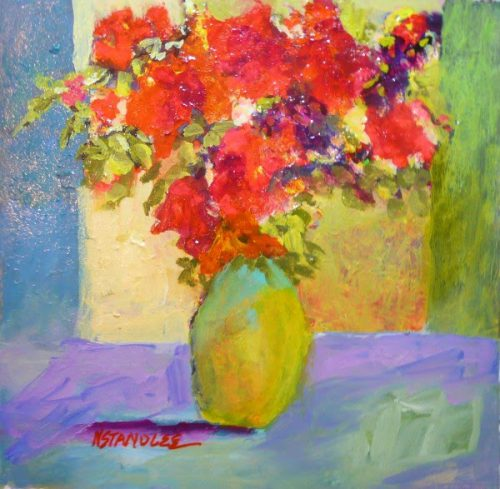 Nancy Standlee Fine Art Red Floral Small Acrylic Painting Robert Burridge