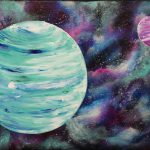 Nebula Planets Step Acrylic Painting Canvas Beginners
