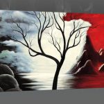 New Beginnings Red Black White Tree Landscape Abstract Canvas Wall