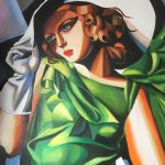 New David Aldus Original Young Lady After Tamara Lempicka Art Deco Painting