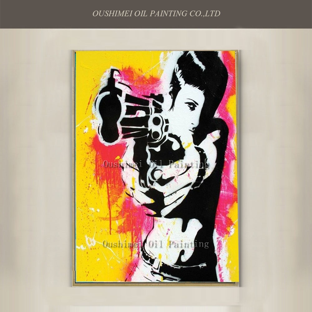 New Hand Painted Canvas Portrait Oil Painting Cool Women Sharpshooter Acrylic Paintings