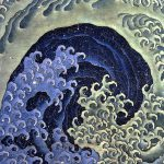 Ocean Waves Japanese Art Mono Deluxe Needlepoint
