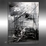 Oil Painting Black White Abstract Art