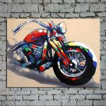 Oil Painting Canvas Hand Painted Harley Davidson Motorcycle Abstract Art Large