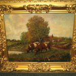Oil Painting Cows Pasture Sale Antiques