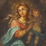 Oil Painting Spanish Madonna Original Canvas Century