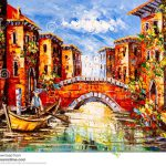 Oil Painting Venice Italy Boat