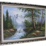 Oils Large Beautiful Scott Oil Board Forest Scene High Relief