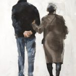 Old Couple Painting Art Print