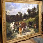 Old Master Art Antique Oil Painting Animals Cow Canvas