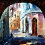 Old Town Palette Knife Oil Painting Canvas Leonid