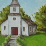 Old White Church Texas Hill Country Painting Amy