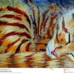 Orange Kitten Sleeping Acrylic Painting
