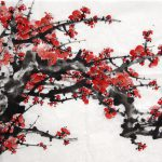 Oriental Asian Original Painting Ink Brush Decoration Chinese Plum Blossom