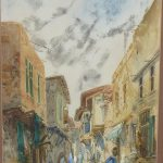 Orientalist Watercolor Painting Middle East Townscape Listed Ruby