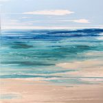 Original Abstract Art Painting Stretched Canvas Favourite Beach Blue Turquoise Teal