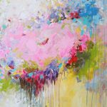 Original Abstract Painting Flower Art Large Colorful