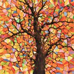 Original Abstract Tree Landscape Painting Stained Glass Amy